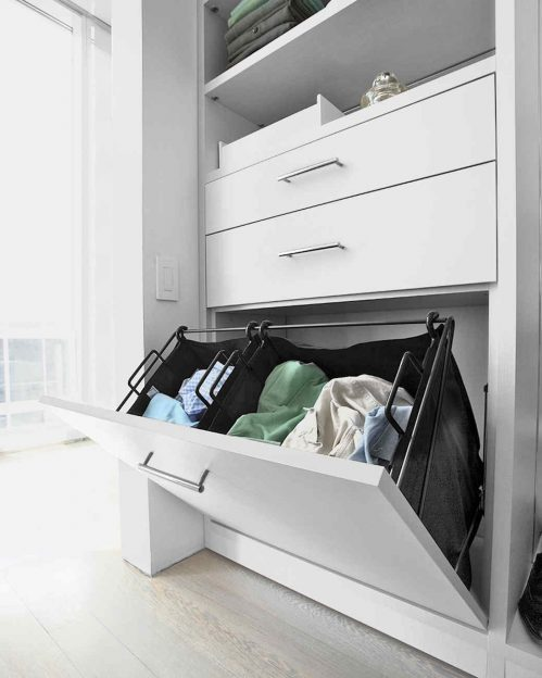 We can create a built in hamper to make it easy to store your laundry.